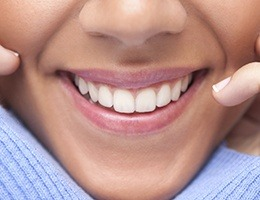 Closeup of smile with healthy teeht and gums