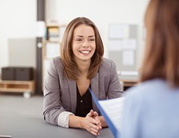 woman smiling during job interview