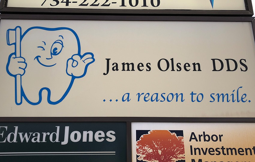Outside sign for James Olsen DDS in Ann Arbor