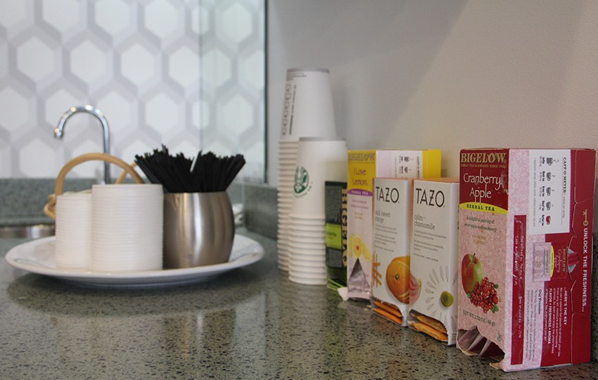Assortment of teas in dental waiting area